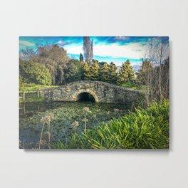 Stone Bridge and lilies. Metal Print