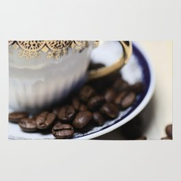 Coffee beans in the old cappuccino cup Rug