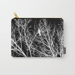 Modern Contemporary Black and White Tree Bird Art A539 Carry-All Pouch