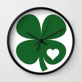 Clover Heart Irish Green St. Patrick's Day Shamrock Wall Clock