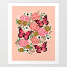 Monarch Florals by Andrea Lauren  Art Print