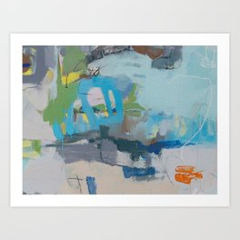 """riding the rail"" abstract art in navy, lime, robin's egg and teal Art Print"