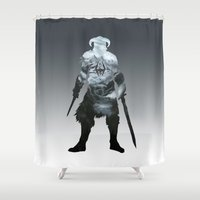 skyrim Shower Curtains featuring Skyrim by Ioana Muresan