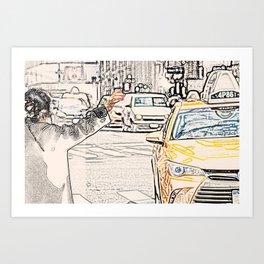 Taxi Art Work New York City Art Print
