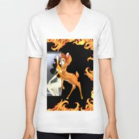 givenchy V-neck T-shirts featuring Givenchy scarf with flame and bambi print by Le' + WK$amahoodT Boutique by Paynasa®