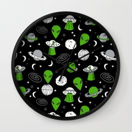 Alien outer space cute aliens french fries rad sodas pattern print black Wall Clock