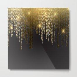 Gold draping glitter on black Metal Print