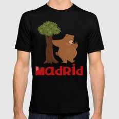 MADRID: Bear and Madrono (v.2) Black Mens Fitted Tee MEDIUM