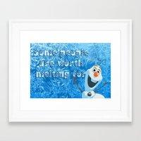 olaf Framed Art Prints featuring OLAF by DisPrints