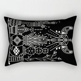 Santa Fe Garden – White Ink on Black Rectangular Pillow