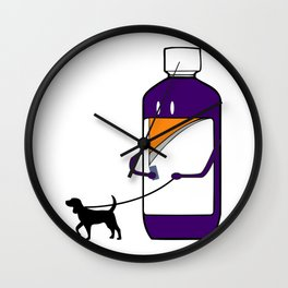 Codeine Bottle Walking the Dog Wall Clock