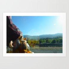 Gnome enjoying the vineyards of Napa Valley Art Print