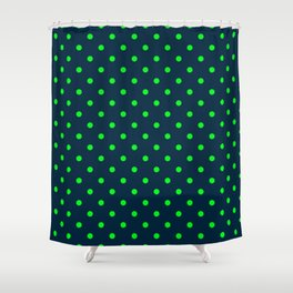 Navy and Neon Lime Green Polka Dots Shower Curtain