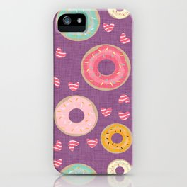 hearts and donuts purple iPhone Case