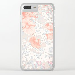 Coral And Grey Petunias Clear iPhone Case