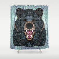 ornate Shower Curtains featuring Ornate Black Bear by ArtLovePassion