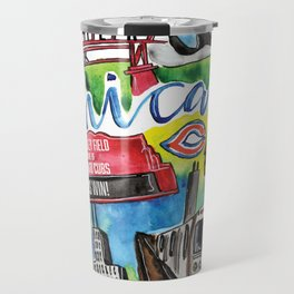 Chicago Watercolor Collage Travel Mug