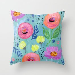 Floral Pattern Painting, Coral Flowers, Yellow Flowers, Peach Flowers, Blue Wall Art Throw Pillow