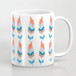 Orange and blue feathers with motiff Coffee Mug