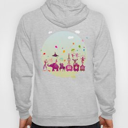 colorful circus carnival traveling in one row during daylight Hoody