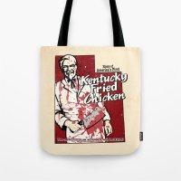 utah Tote Bags featuring KFC (Utah) by Geekleetist