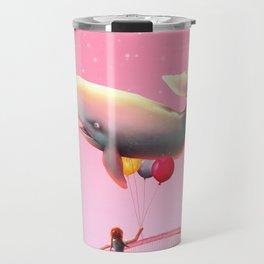 Whale and balloons - Pink Travel Mug