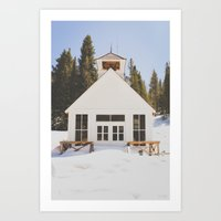 elmo Art Prints featuring St. Elmo Town Hall by Carrie Baker