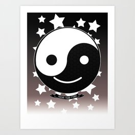 Emotional Balance // Yin Yang Smiley Face //Smilie Art Print