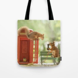 squirrels with a telephone booth Tote Bag