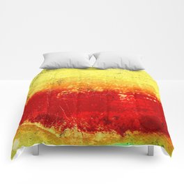 Vibrant Yellow Sunset Glow Textured Abstract Comforters