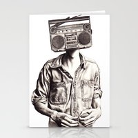 radio Stationery Cards featuring Radio-Head by KatePowellArt