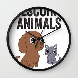 Rescued Adopted Animal Gift For Rescue Animal Pet Lovers Wall Clock