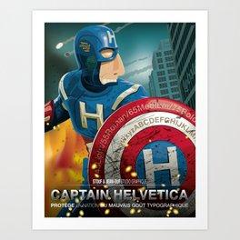 Captain Helvetica Art Print