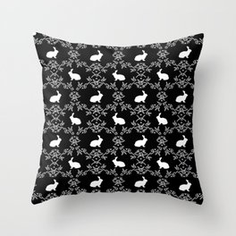 Rabbit pet silhouette floral rabbits bunny gifts cute minimal pets black and white Throw Pillow