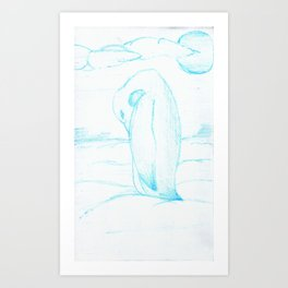 A Cool Disposition, In Blue Art Print