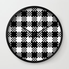 Black and white gingham pattern Wall Clock