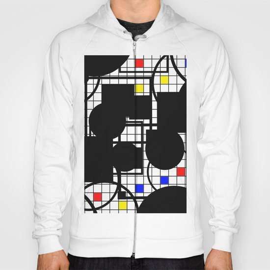 Colour Relationships - Black, white, red, yellow, blue, geometric abstract artwork Hoody