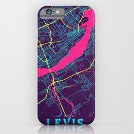 Levis Neon City Map, Levis Minimalist City Map Art Print iPhone Case