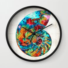 Colorful Nautilus Shell by Sharon Cummings Wall Clock