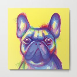 FRENCH BULLDOG COLORFUL WATERCOLOR ILLUSTRATION Metal Print
