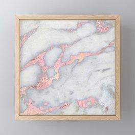 Rosegold Pink on Gray Marble Metallic Foil Style Framed Mini Art Print