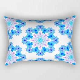 Blue Floral Watercolor Mandala Rectangular Pillow