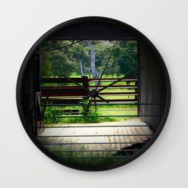 Looking through an old cattle Shed Wall Clock