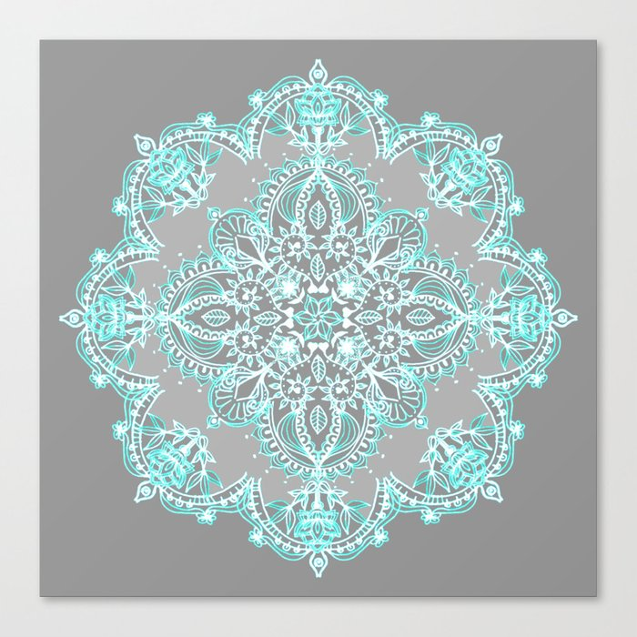 Teal and Aqua Lace Mandala on Grey Leinwanddruck