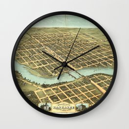 Bird's eye view of Kankakee, Illinois (1869) Wall Clock