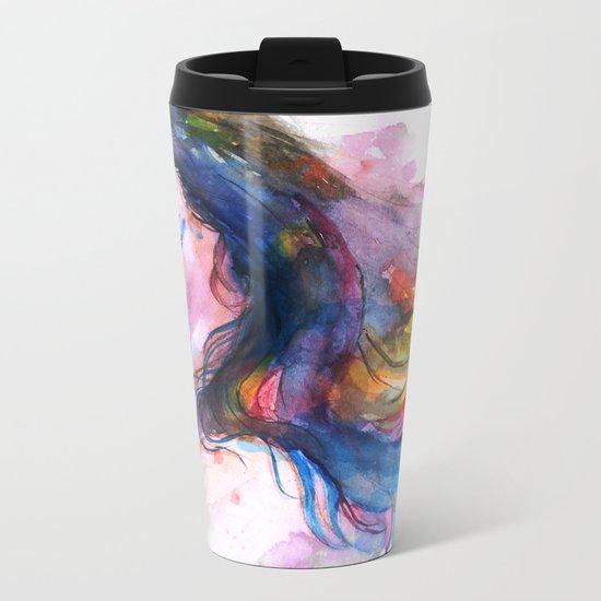 Watercolor portrate Metal Travel Mug