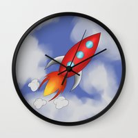 rocket Wall Clocks featuring Rocket by PrisonBlockS
