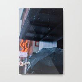 Umbrella Rain Metal Print