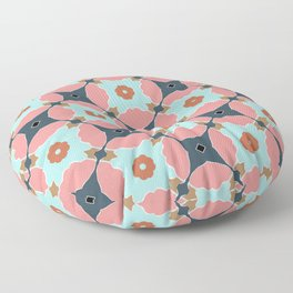 Percy pink and blue geo floral pattern Floor Pillow