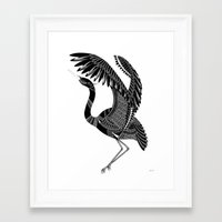 crane Framed Art Prints featuring Crane by By Stine Lee